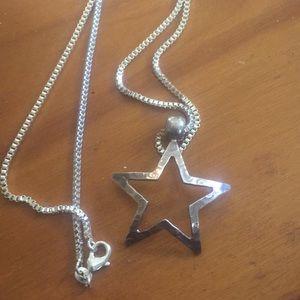 Vintage 1970s Sterling Silver Necklace Star